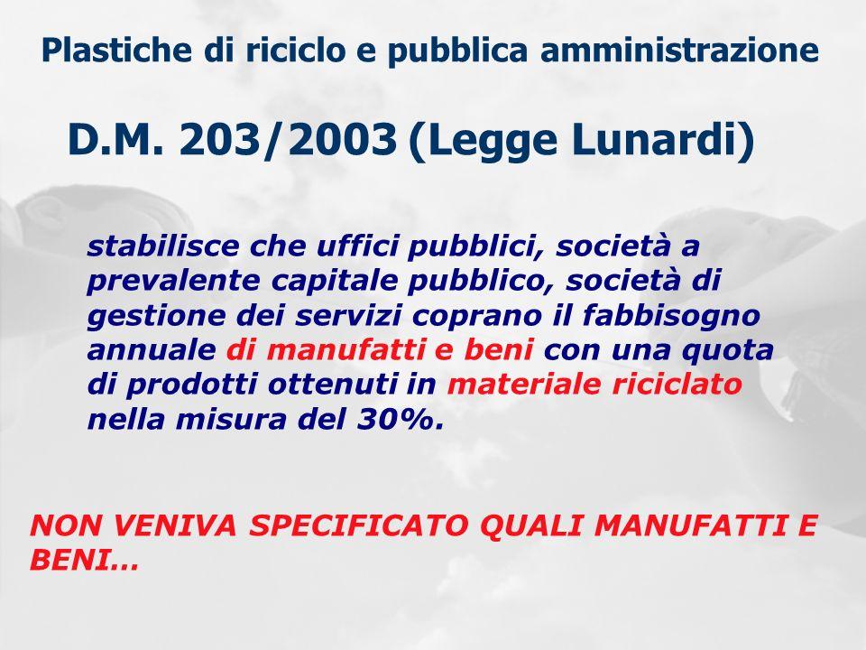 Plastiche di riciclo e pubblica amministrazione D.M. 203/2003 (Legge Lunardi) stabilisce che uffici pubblici, società a prevalente capitale pubblico,