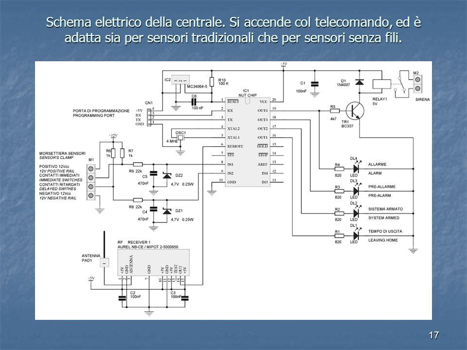 17 Schema elettrico della centrale. Si accende col telecomando, ed è adatta sia per sensori tradizionali che per sensori senza fili.