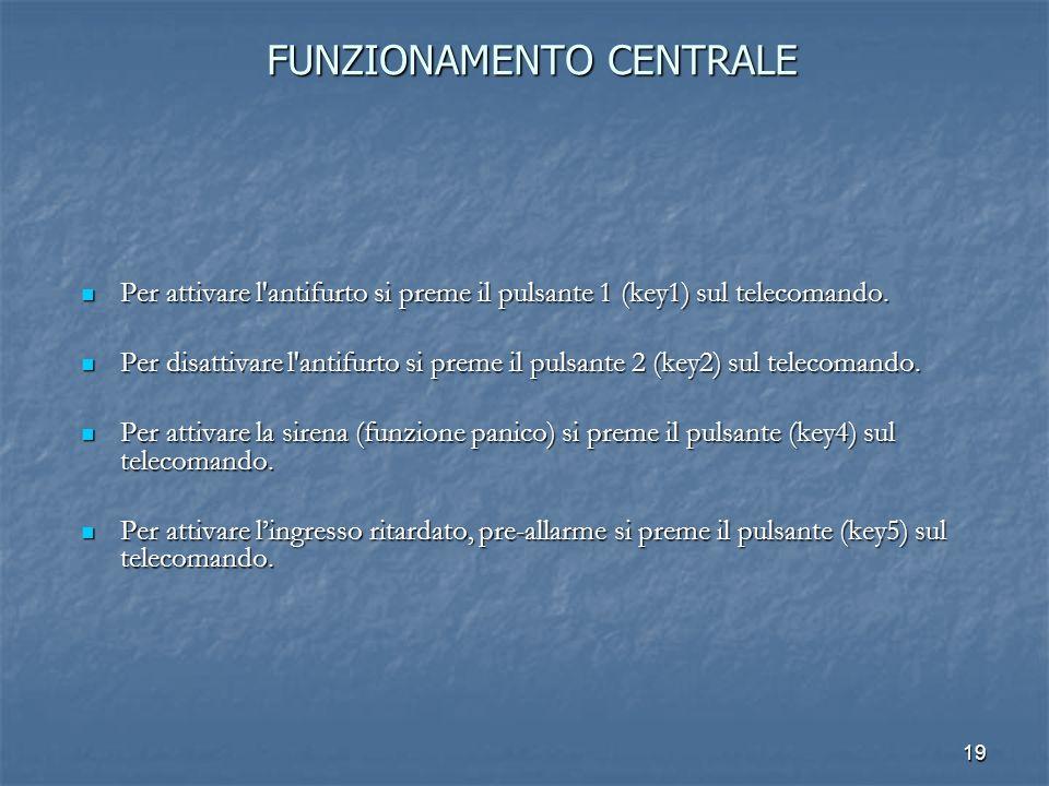 19 FUNZIONAMENTO CENTRALE Per attivare l'antifurto si preme il pulsante 1 (key1) sul telecomando. Per attivare l'antifurto si preme il pulsante 1 (key