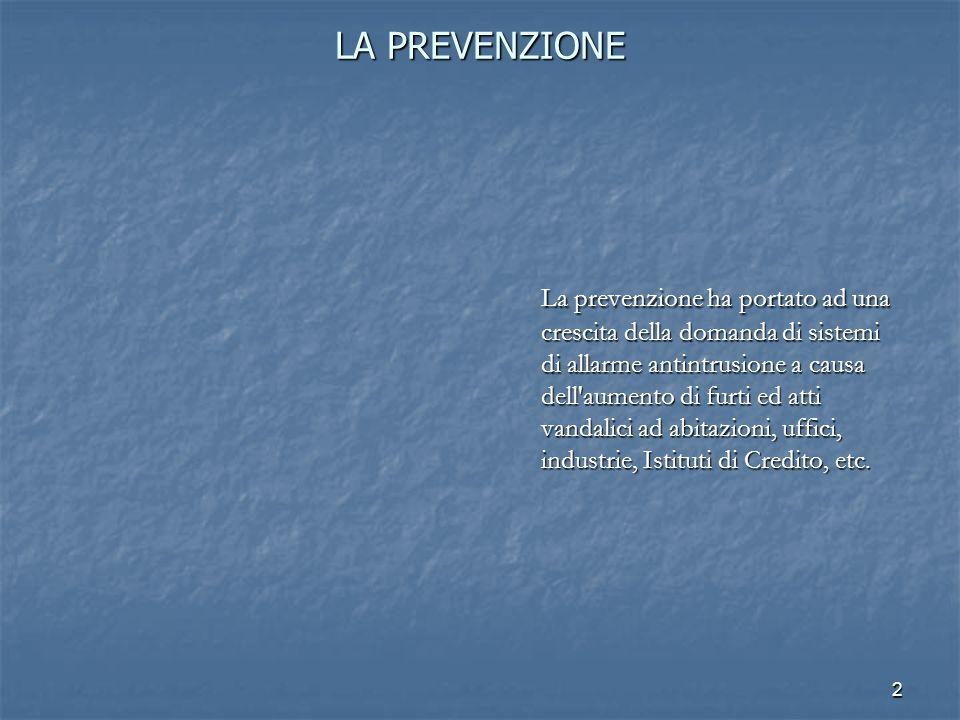 2 LA PREVENZIONE La prevenzione ha portato ad una crescita della domanda di sistemi di allarme antintrusione a causa dell'aumento di furti ed atti van