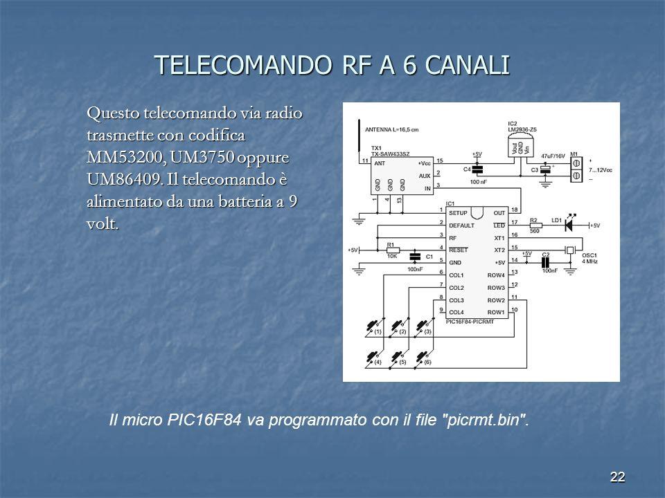 22 TELECOMANDO RF A 6 CANALI Questo telecomando via radio trasmette con codifica MM53200, UM3750 oppure UM86409. Il telecomando è alimentato da una ba