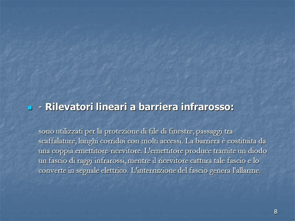 8 - Rilevatori lineari a barriera infrarosso: - Rilevatori lineari a barriera infrarosso: sono utilizzati per la protezione di file di finestre, passa