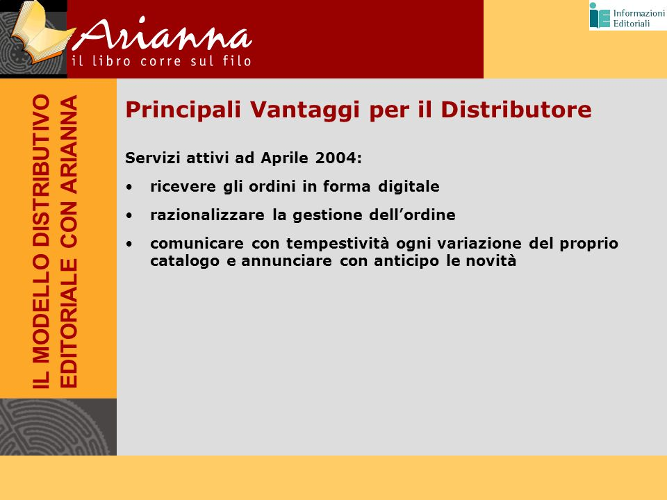 Principali Vantaggi per il Distributore Servizi attivi ad Aprile 2004: ricevere gli ordini in forma digitale razionalizzare la gestione dellordine com