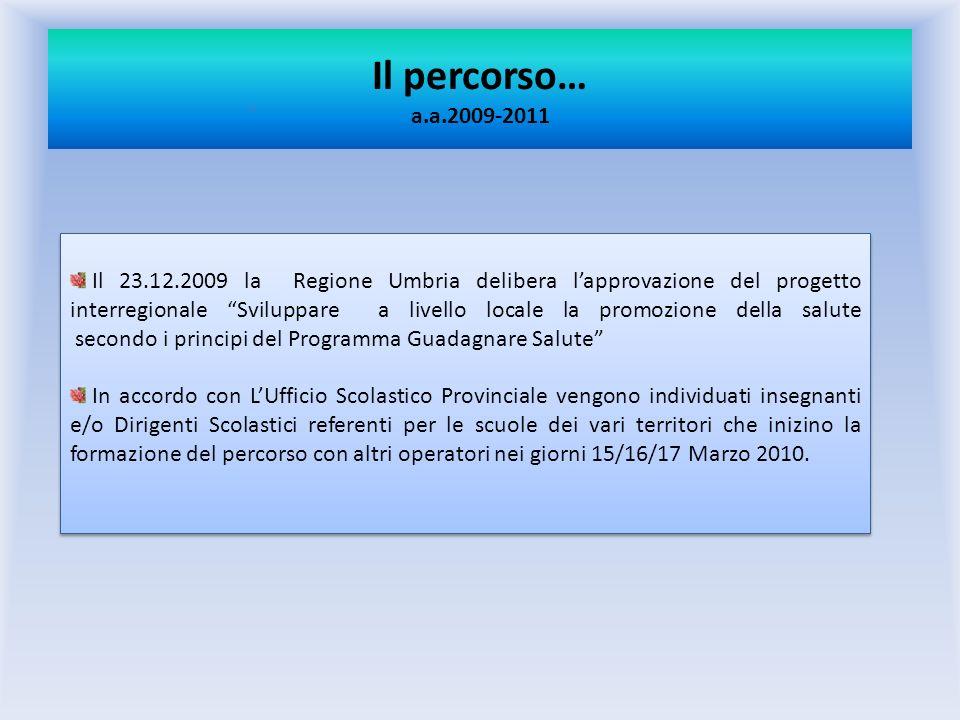 Il percorso… a.a.2009-2011 Il 23.12.2009 la Regione Umbria delibera lapprovazione del progetto interregionale Sviluppare a livello locale la promozion