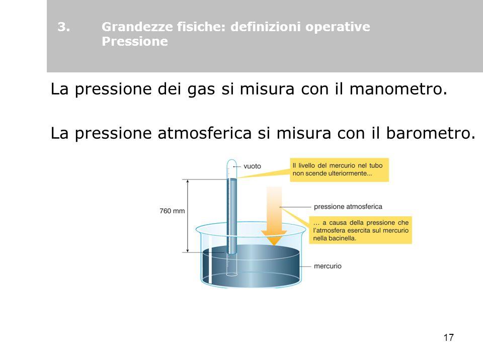 17 La pressione dei gas si misura con il manometro. La pressione atmosferica si misura con il barometro. 3.Grandezze fisiche: definizioni operative Pr
