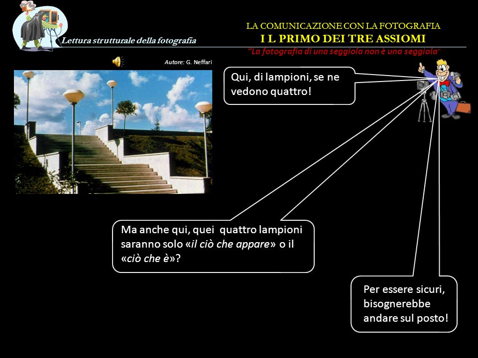 Lettura strutturale della fotografia Autore: G. Neffari Qui la foto dice che su quella scalinata ci sono due soli lampioni. Pare proprio vero! Ma la f