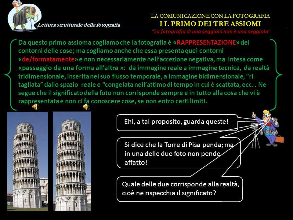 Lettura strutturale della fotografia LA COMUNICAZIONE CON LA FOTOGRAFIA Cap. I Tre Assiomi FINE