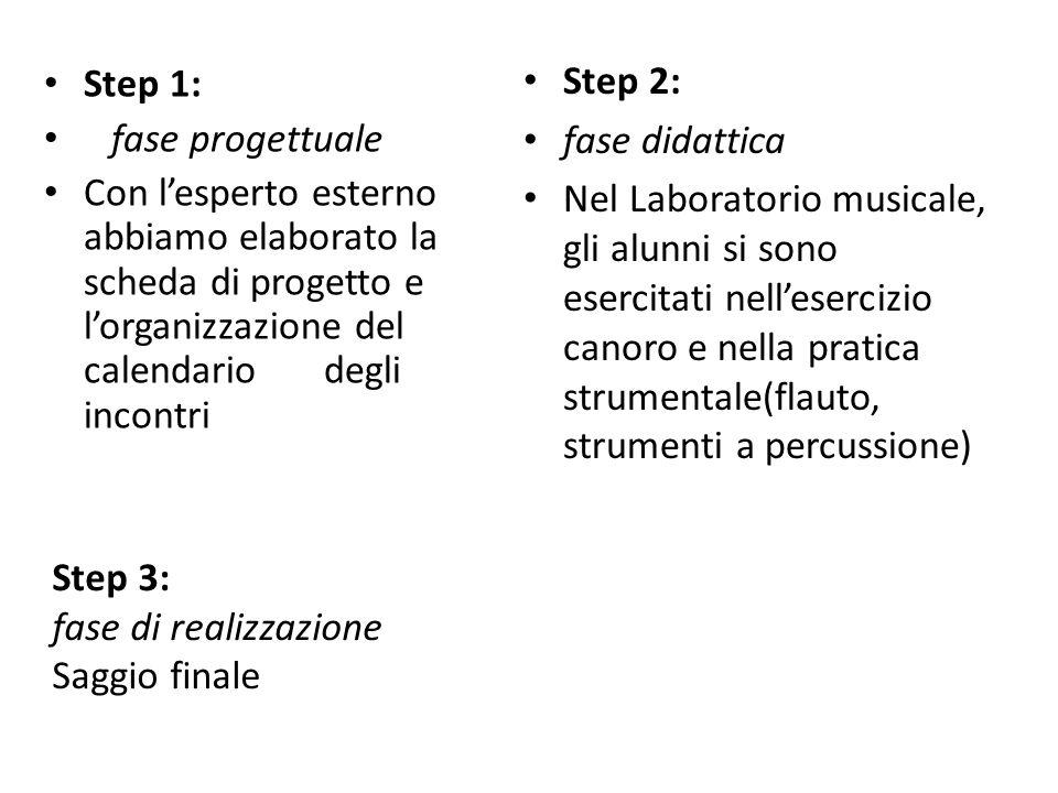 Step 3: fase di realizzazione Saggio finale Step 1: fase progettuale Con lesperto esterno abbiamo elaborato la scheda di progetto e lorganizzazione de