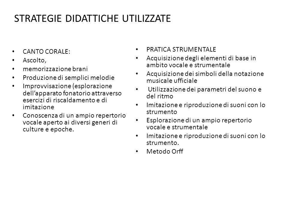 ASPETTI METODOLOGICI E stato privilegiato luso del metodo Orff con luso dello strumentario didattico.