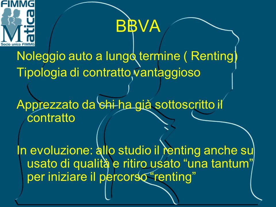 BBVA Noleggio auto a lungo termine ( Renting) Tipologia di contratto vantaggioso Apprezzato da chi ha già sottoscritto il contratto In evoluzione: all