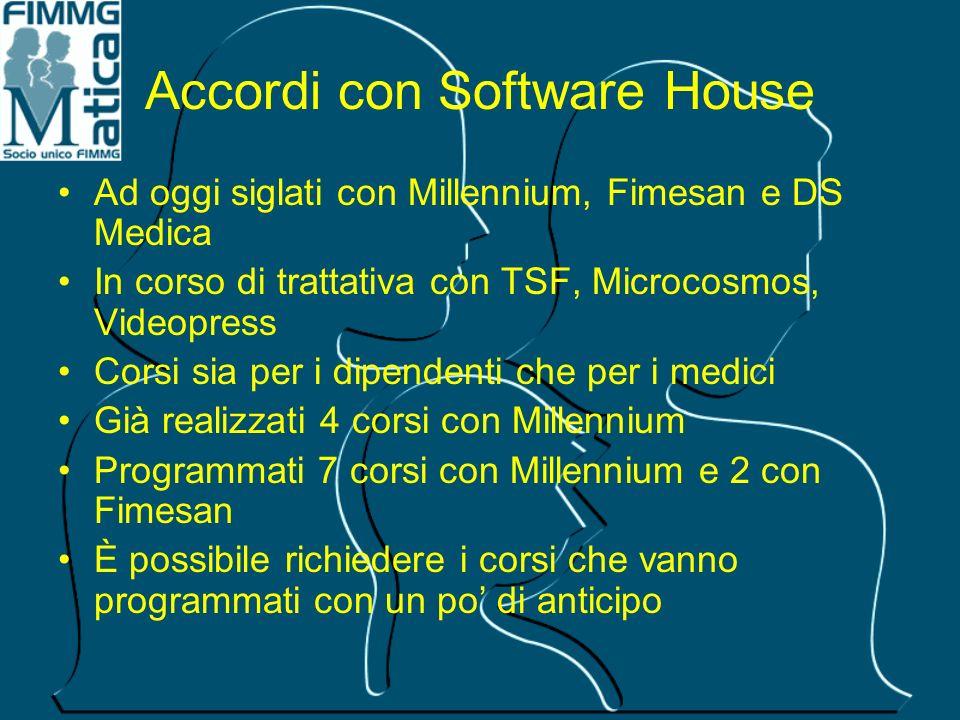 Accordi con Software House Ad oggi siglati con Millennium, Fimesan e DS Medica In corso di trattativa con TSF, Microcosmos, Videopress Corsi sia per i