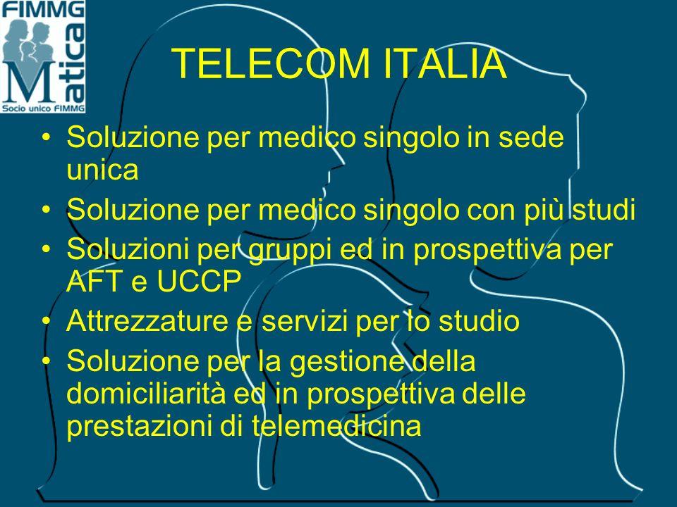 TELECOM ITALIA Soluzione per medico singolo in sede unica Soluzione per medico singolo con più studi Soluzioni per gruppi ed in prospettiva per AFT e