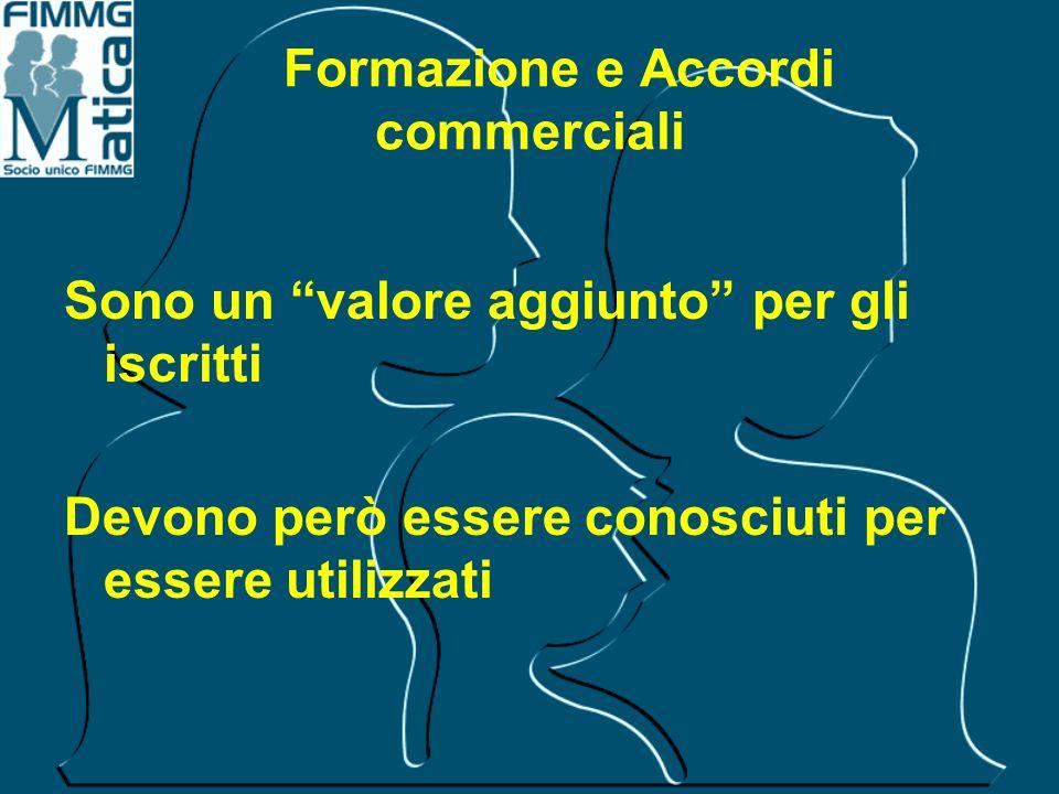 Formazione e Accordi commerciali Sono un valore aggiunto per gli iscritti Devono però essere conosciuti per essere utilizzati