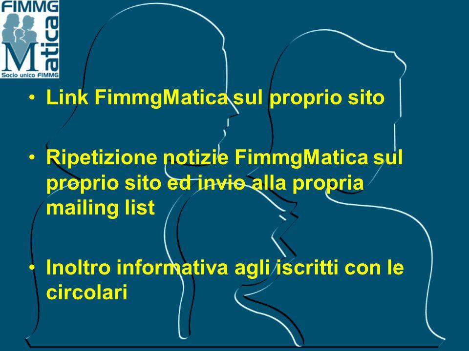 Link FimmgMatica sul proprio sito Ripetizione notizie FimmgMatica sul proprio sito ed invio alla propria mailing list Inoltro informativa agli iscritt