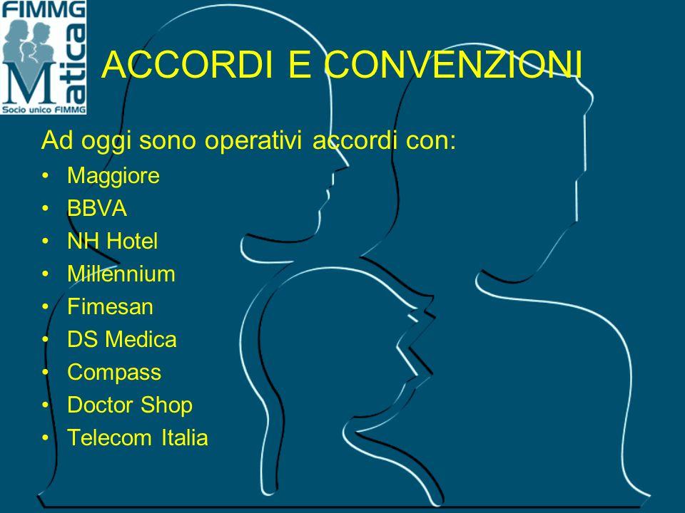 ACCORDI E CONVENZIONI Ad oggi sono operativi accordi con: Maggiore BBVA NH Hotel Millennium Fimesan DS Medica Compass Doctor Shop Telecom Italia