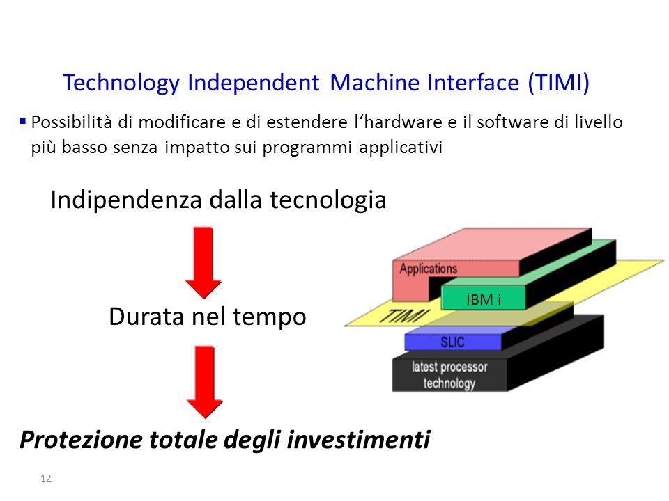 12 Possibilità di modificare e di estendere lhardware e il software di livello più basso senza impatto sui programmi applicativi Technology Independen