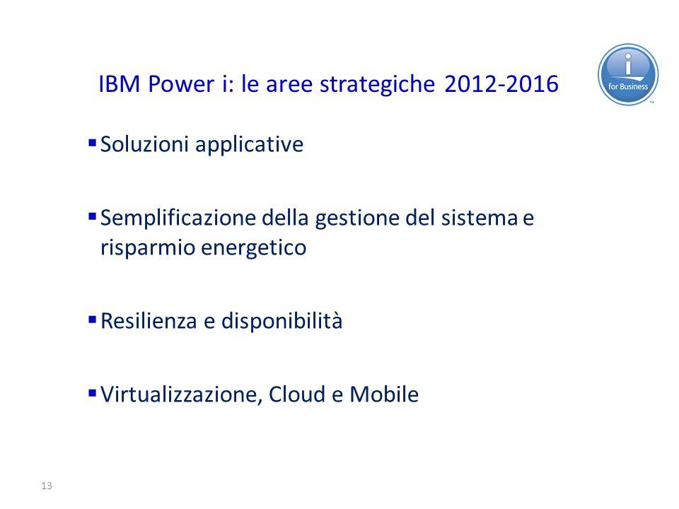 13 IBM Power i: le aree strategiche 2012-2016 Soluzioni applicative Semplificazione della gestione del sistema e risparmio energetico Resilienza e dis
