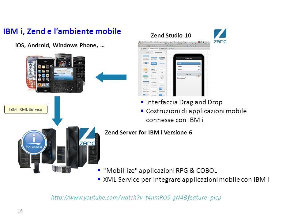 16 IBM i, Zend e lambiente mobile http://www.youtube.com/watch?v=t4nmRO9-gN4&feature=plcp Zend Studio 10 Interfaccia Drag and Drop Costruzioni di appl