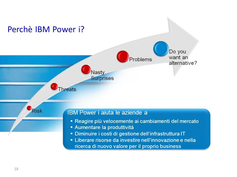 18 IBM Power i aiuta le aziende a Reagire più velocemente ai cambiamenti del mercato Aumentare la produttività Diminuire i costi di gestione dellinfra