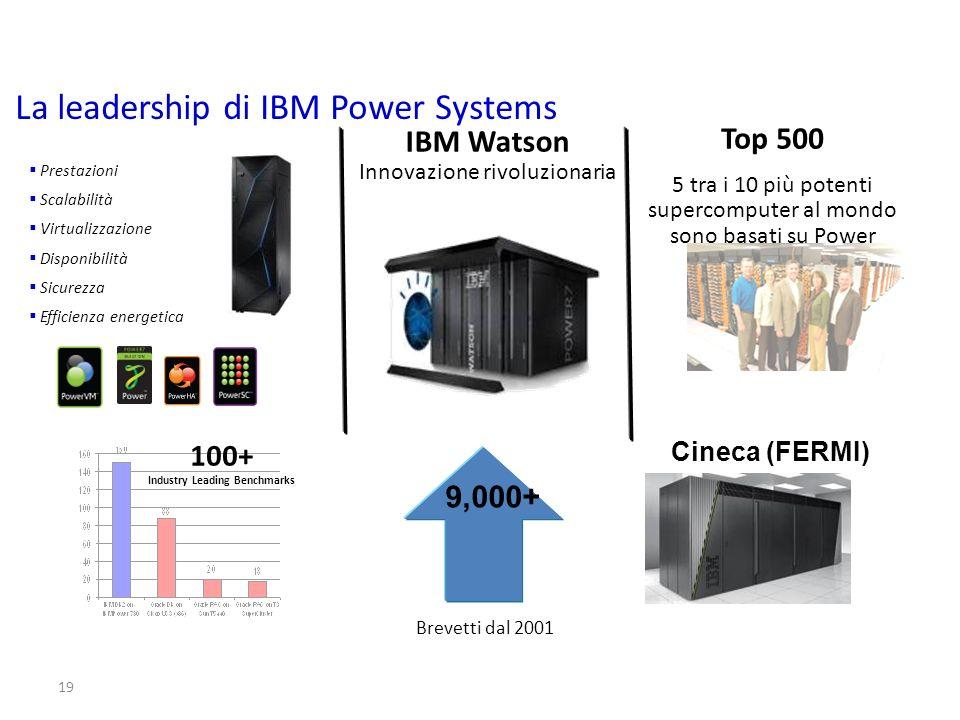 19 IBM Watson Innovazione rivoluzionaria Top 500 5 tra i 10 più potenti supercomputer al mondo sono basati su Power Prestazioni Scalabilità Virtualizz