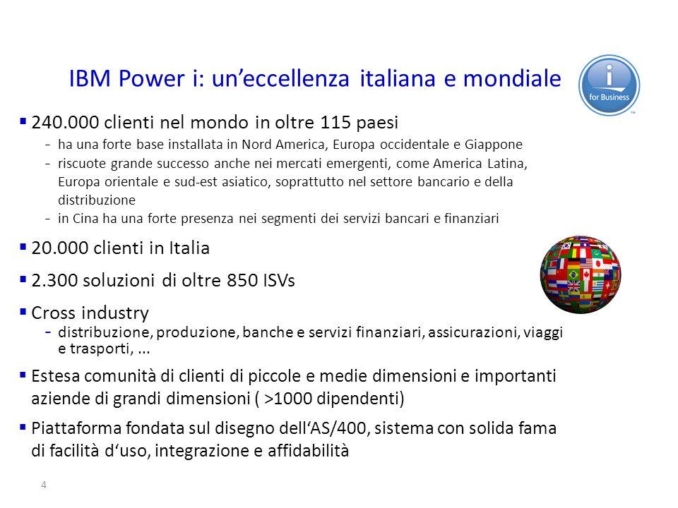 4 IBM Power i: uneccellenza italiana e mondiale 240.000 clienti nel mondo in oltre 115 paesi – ha una forte base installata in Nord America, Europa oc