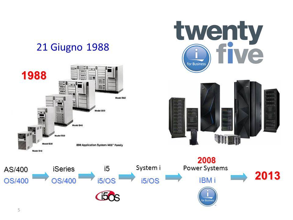 5 21 Giugno 1988 System i AS/400 iSeries i5 OS/400 OS/400 i5/OS IBM i i5/OSOS/400 Power Systems 2008 1988 2013