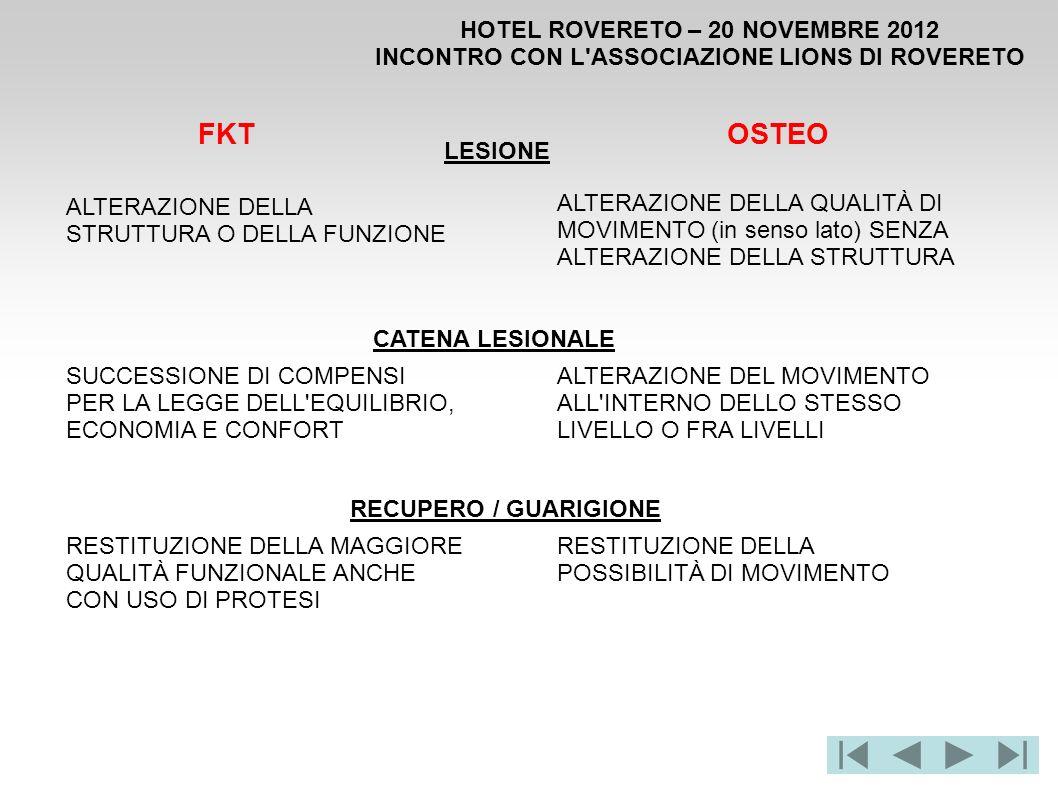 HOTEL ROVERETO – 20 NOVEMBRE 2012 INCONTRO CON L'ASSOCIAZIONE LIONS DI ROVERETO LESIONE FKTOSTEO ALTERAZIONE DELLA STRUTTURA O DELLA FUNZIONE ALTERAZI