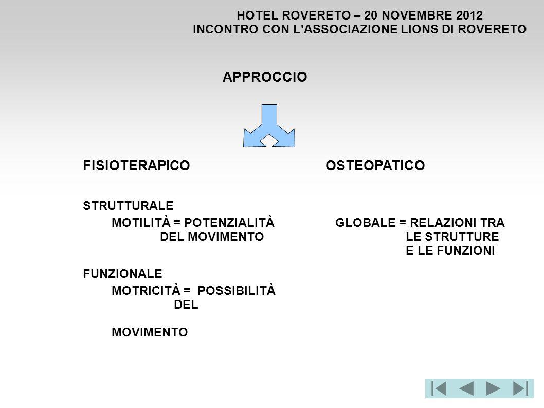 HOTEL ROVERETO – 20 NOVEMBRE 2012 INCONTRO CON L'ASSOCIAZIONE LIONS DI ROVERETO APPROCCIO FISIOTERAPICOOSTEOPATICO STRUTTURALE FUNZIONALE MOTRICITÀ =