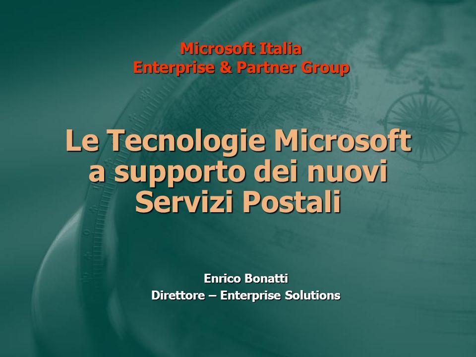 Le Tecnologie Microsoft a supporto dei nuovi Servizi Postali Enrico Bonatti Direttore – Enterprise Solutions Microsoft Italia Enterprise & Partner Gro