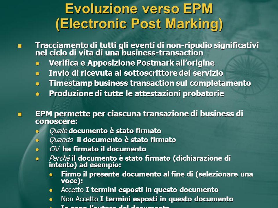 Evoluzione verso EPM (Electronic Post Marking) Tracciamento di tutti gli eventi di non-ripudio significativi nel ciclo di vita di una business-transac