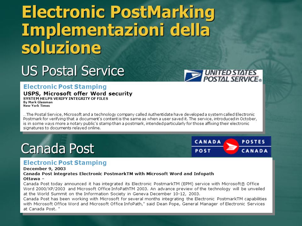 Electronic PostMarking Implementazioni della soluzione US Postal Service Electronic Post Stamping USPS, Microsoft offer Word security SYSTEM HELPS VERIFY INTEGRITY OF FILES By Mark Glassman New York Times …The Postal Service, Microsoft and a technology company called Authentidate have developed a system called Electronic Postmark for verifying that a document s content is the same as when a user saved it.