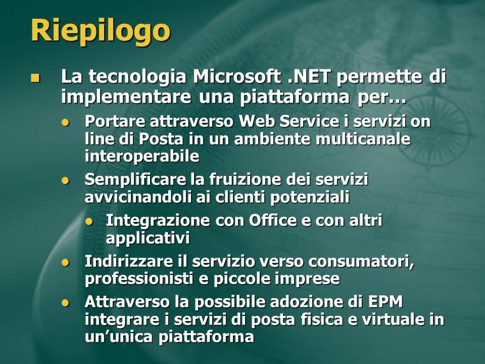 Riepilogo La tecnologia Microsoft.NET permette di implementare una piattaforma per… La tecnologia Microsoft.NET permette di implementare una piattafor