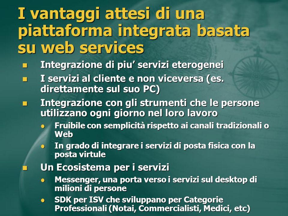 I vantaggi attesi di una piattaforma integrata basata su web services Integrazione di piu servizi eterogenei Integrazione di piu servizi eterogenei I