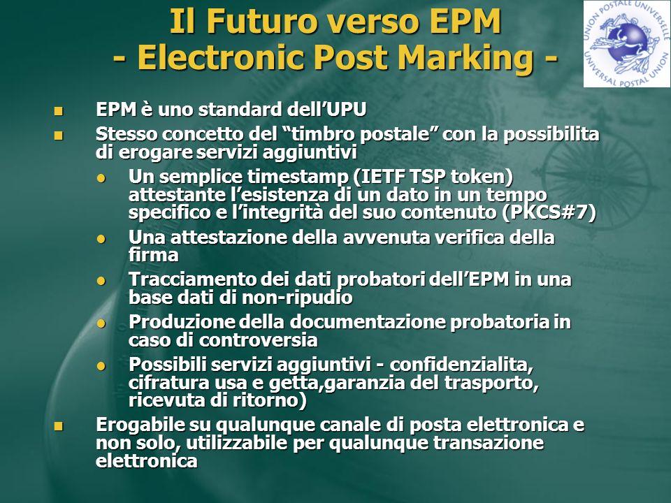 Il Futuro verso EPM - Electronic Post Marking - EPM è uno standard dellUPU EPM è uno standard dellUPU Stesso concetto del timbro postale con la possibilita di erogare servizi aggiuntivi Stesso concetto del timbro postale con la possibilita di erogare servizi aggiuntivi Un semplice timestamp (IETF TSP token) attestante lesistenza di un dato in un tempo specifico e lintegrità del suo contenuto (PKCS#7) Un semplice timestamp (IETF TSP token) attestante lesistenza di un dato in un tempo specifico e lintegrità del suo contenuto (PKCS#7) Una attestazione della avvenuta verifica della firma Una attestazione della avvenuta verifica della firma Tracciamento dei dati probatori dellEPM in una base dati di non-ripudio Tracciamento dei dati probatori dellEPM in una base dati di non-ripudio Produzione della documentazione probatoria in caso di controversia Produzione della documentazione probatoria in caso di controversia Possibili servizi aggiuntivi - confidenzialita, cifratura usa e getta,garanzia del trasporto, ricevuta di ritorno) Possibili servizi aggiuntivi - confidenzialita, cifratura usa e getta,garanzia del trasporto, ricevuta di ritorno) Erogabile su qualunque canale di posta elettronica e non solo, utilizzabile per qualunque transazione elettronica Erogabile su qualunque canale di posta elettronica e non solo, utilizzabile per qualunque transazione elettronica