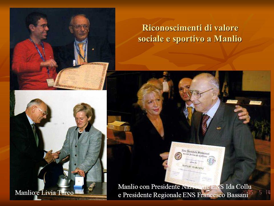 Riconoscimenti di valore sociale e sportivo a Manlio Manlio e Livia Turco Manlio con Presidente Nazionale ENS Ida Collu e Presidente Regionale ENS Fra