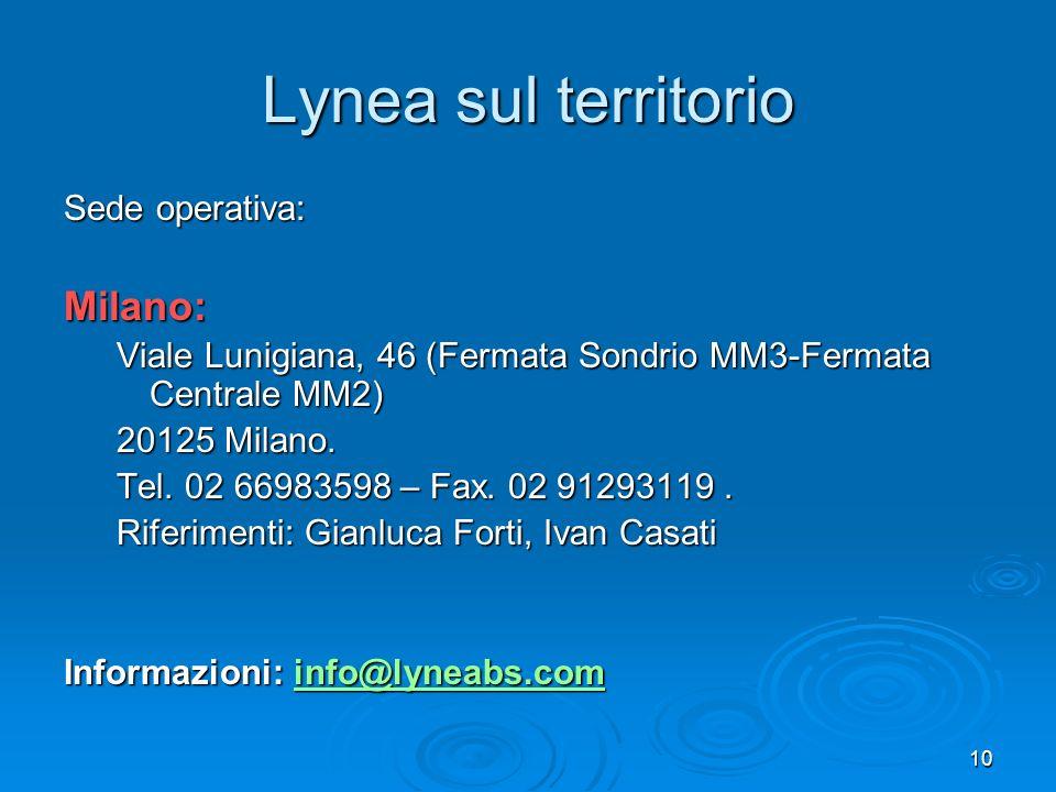 10 Lynea sul territorio Sede operativa: Milano: Viale Lunigiana, 46 (Fermata Sondrio MM3-Fermata Centrale MM2) 20125 Milano. Tel. 02 66983598 – Fax. 0