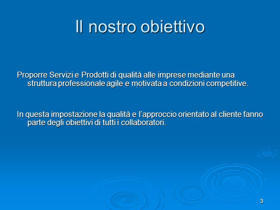 3 Il nostro obiettivo Proporre Servizi e Prodotti di qualità alle imprese mediante una struttura professionale agile e motivata a condizioni competiti