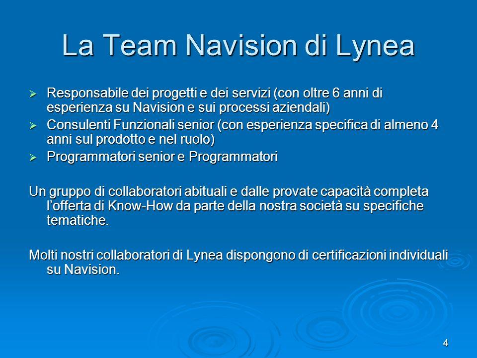 4 La Team Navision di Lynea Responsabile dei progetti e dei servizi (con oltre 6 anni di esperienza su Navision e sui processi aziendali) Responsabile