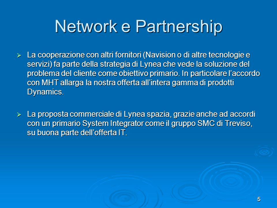 5 Network e Partnership La cooperazione con altri fornitori (Navision o di altre tecnologie e servizi) fa parte della strategia di Lynea che vede la s