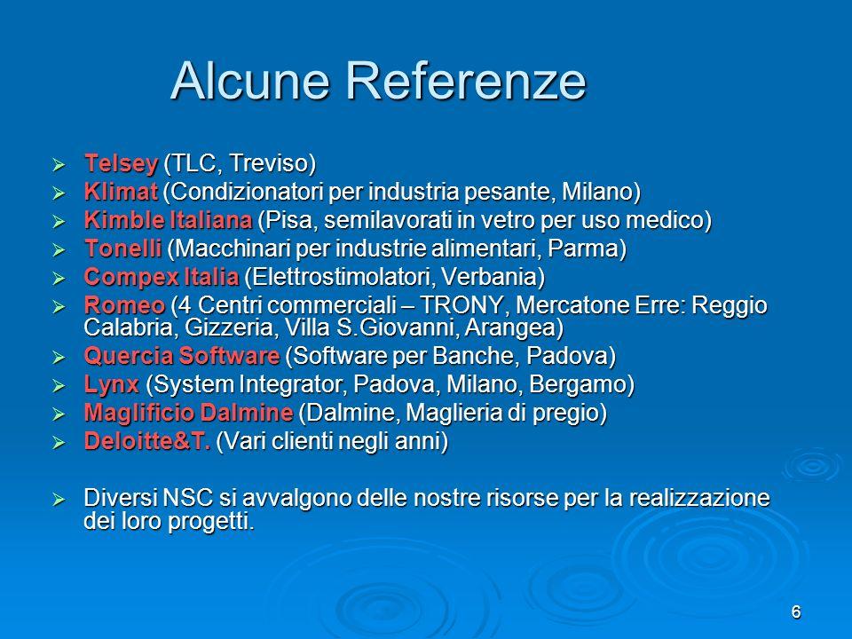 6 Alcune Referenze Telsey (TLC, Treviso) Telsey (TLC, Treviso) Klimat (Condizionatori per industria pesante, Milano) Klimat (Condizionatori per indust