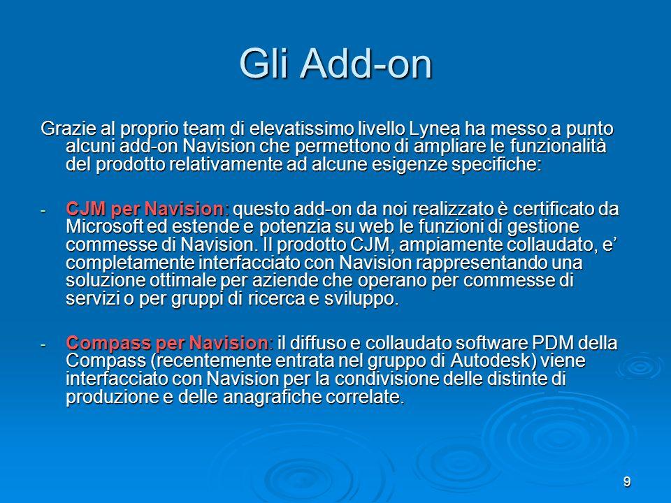 9 Gli Add-on Grazie al proprio team di elevatissimo livello Lynea ha messo a punto alcuni add-on Navision che permettono di ampliare le funzionalità d