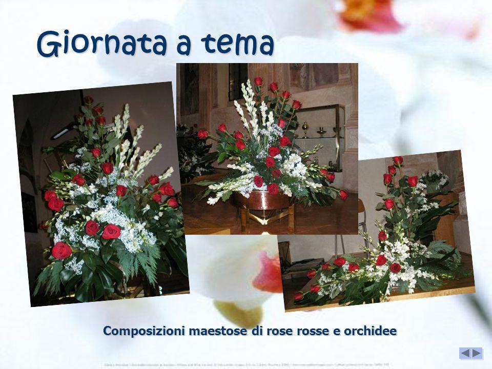 Giornata a tema Composizioni maestose di rose rosse e orchidee