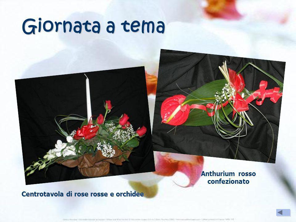 Giornata a tema Centrotavola di rose rosse e orchidee Anthurium rosso confezionato