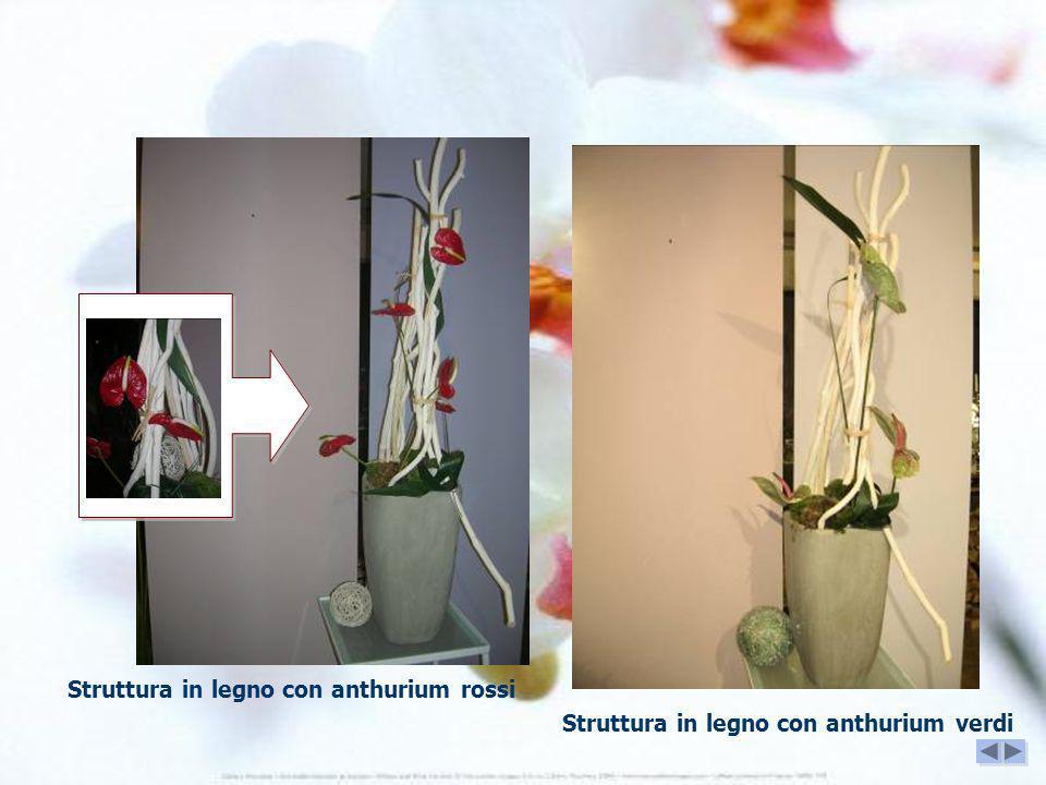 Struttura in legno con anthurium rossi Struttura in legno con anthurium verdi