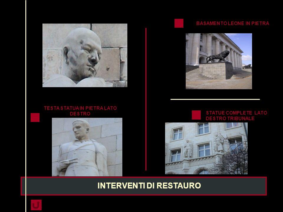 IL MONUMENTO LE SCULTURE RAFFIGURANTI DUE LEONI, REALIZZATI IN BRONZO, DEL PESO DI 4 TONELLATE C.U POGGIA SU UN BASAMENTO RIVESTITO IN GRANITO; DOVRA