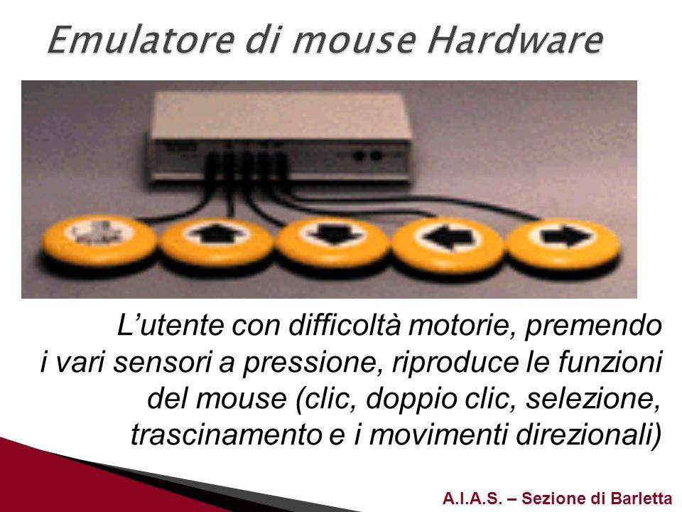 A.I.A.S. – Sezione di Barletta Lutente con difficoltà motorie, premendo i vari sensori a pressione, riproduce le funzioni del mouse (clic, doppio clic