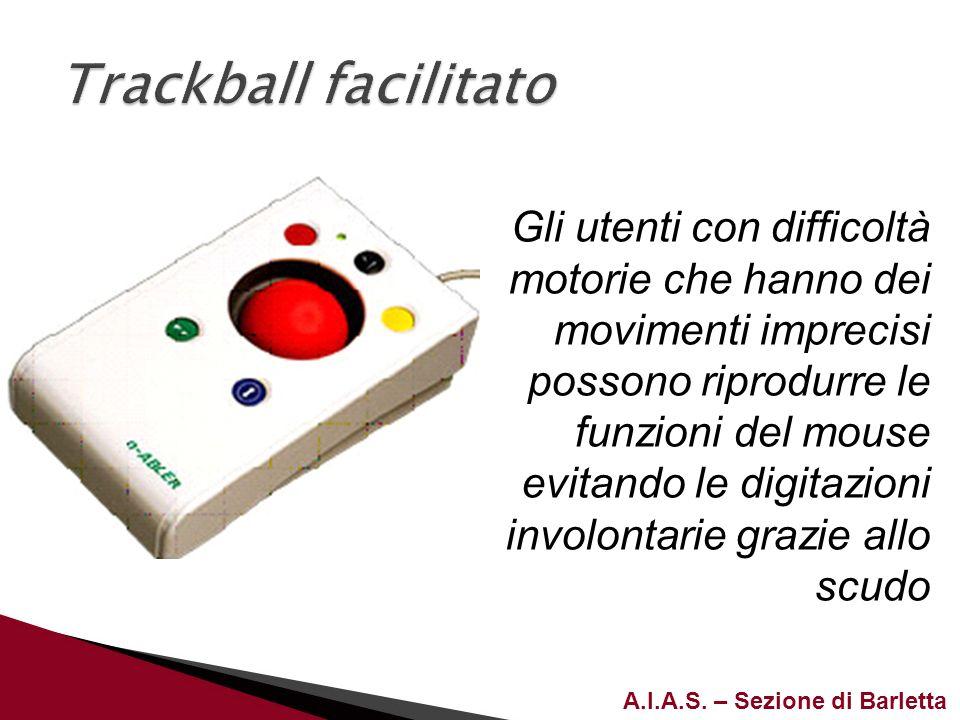 A.I.A.S. – Sezione di Barletta Gli utenti con difficoltà motorie che hanno dei movimenti imprecisi possono riprodurre le funzioni del mouse evitando l
