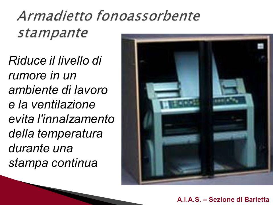 A.I.A.S. – Sezione di Barletta Riduce il livello di rumore in un ambiente di lavoro e la ventilazione evita l'innalzamento della temperatura durante u