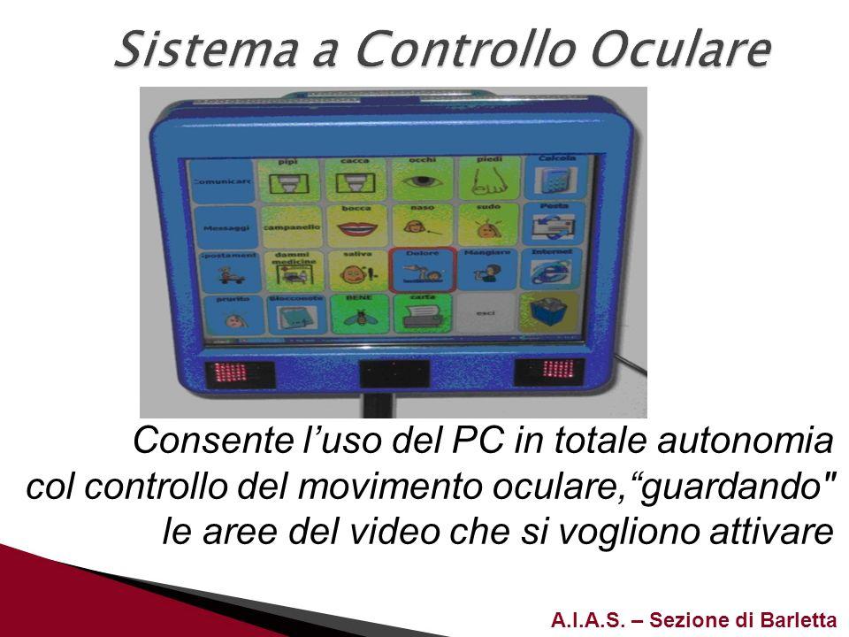 A.I.A.S. – Sezione di Barletta Consente luso del PC in totale autonomia col controllo del movimento oculare,guardando