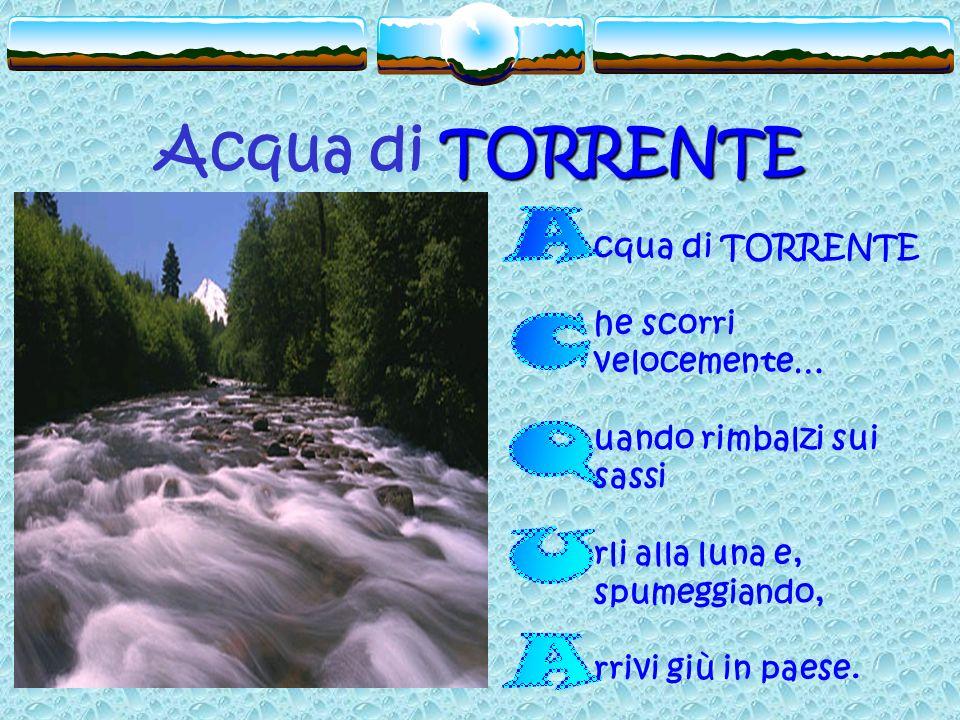 TORRENTE Acqua di TORRENTE cqua di TORRENTE he scorri velocemente… uando rimbalzi sui sassi rli alla luna e, spumeggiando, rrivi giù in paese.